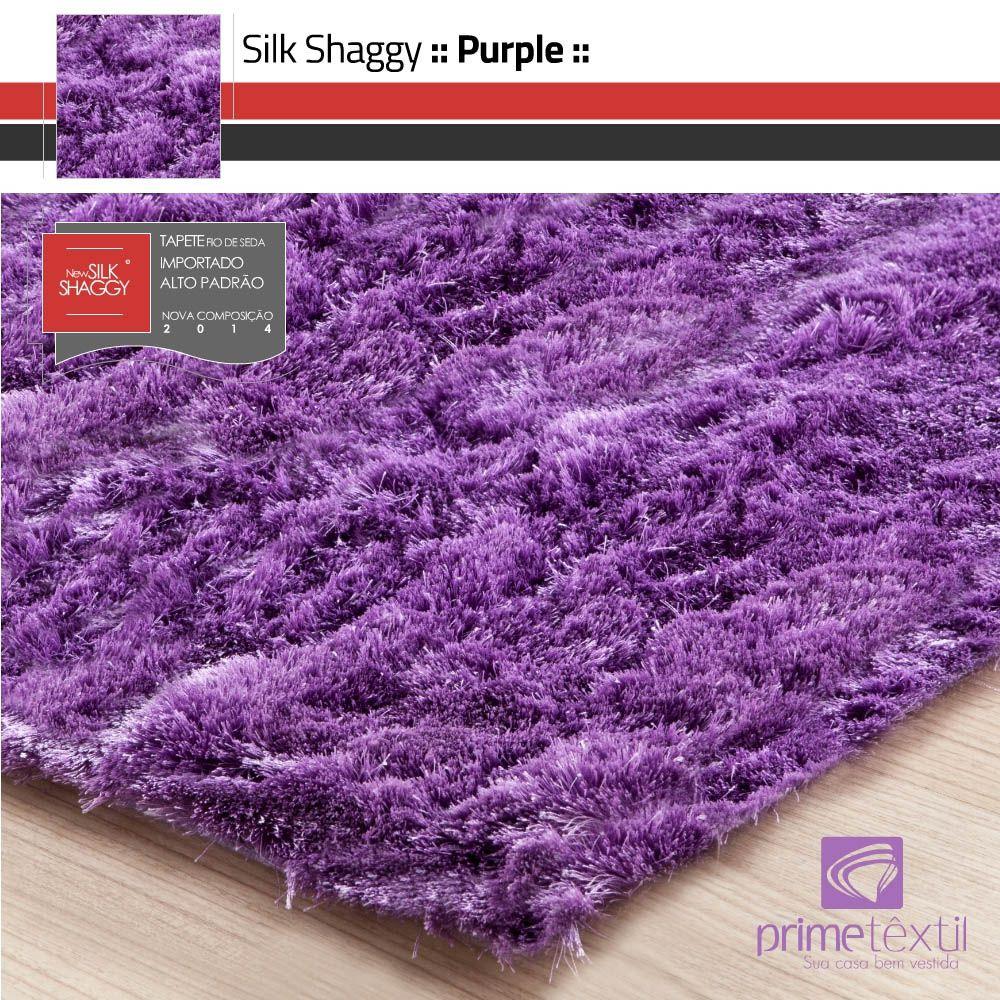 Tapete Silk Shaggy Purple, Rosa Violeta, Fio de Seda 40mm 0,50 x 1,00m