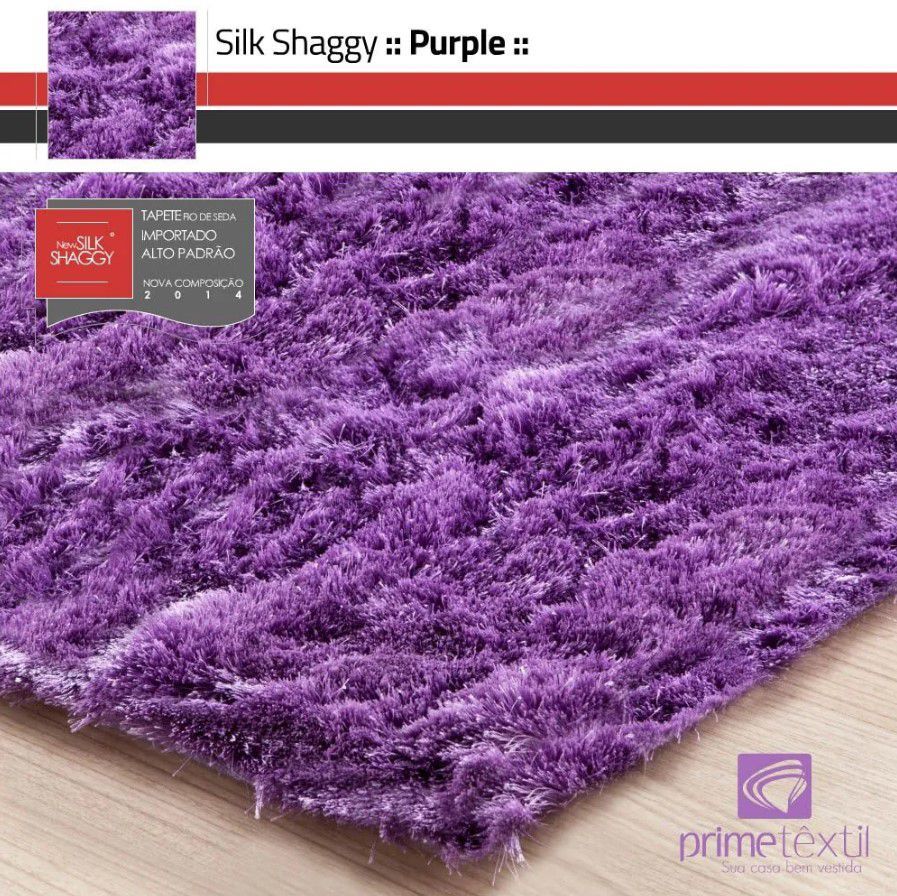 Tapete Silk Shaggy Purple, Rosa Violeta, Fio de Seda 40mm 2,50 x 3,00m