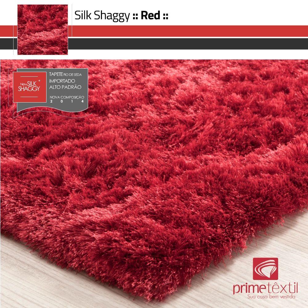Tapete Silk Shaggy Red, Vermelho, Fio de Seda 40mm