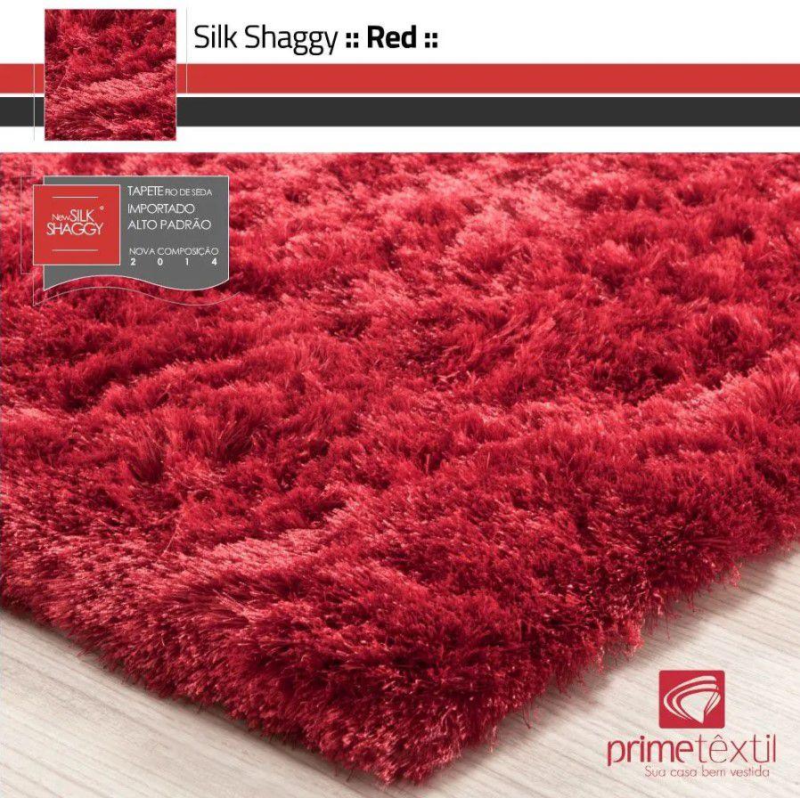 Tapete Silk Shaggy Red, Vermelho, Fio de Seda 40mm 1,00 x 1,50m
