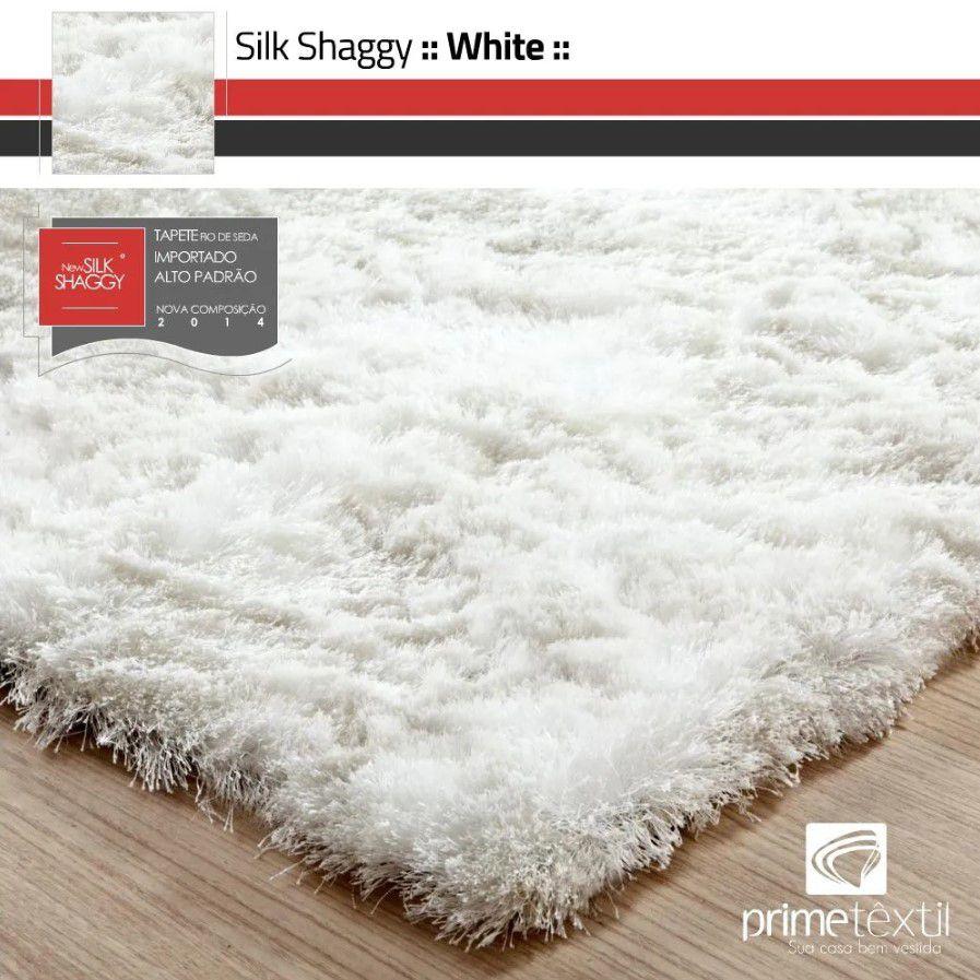 Tapete Silk Shaggy White, Branco Pérola, Fio de Seda 40mm 1,00 x 1,50m