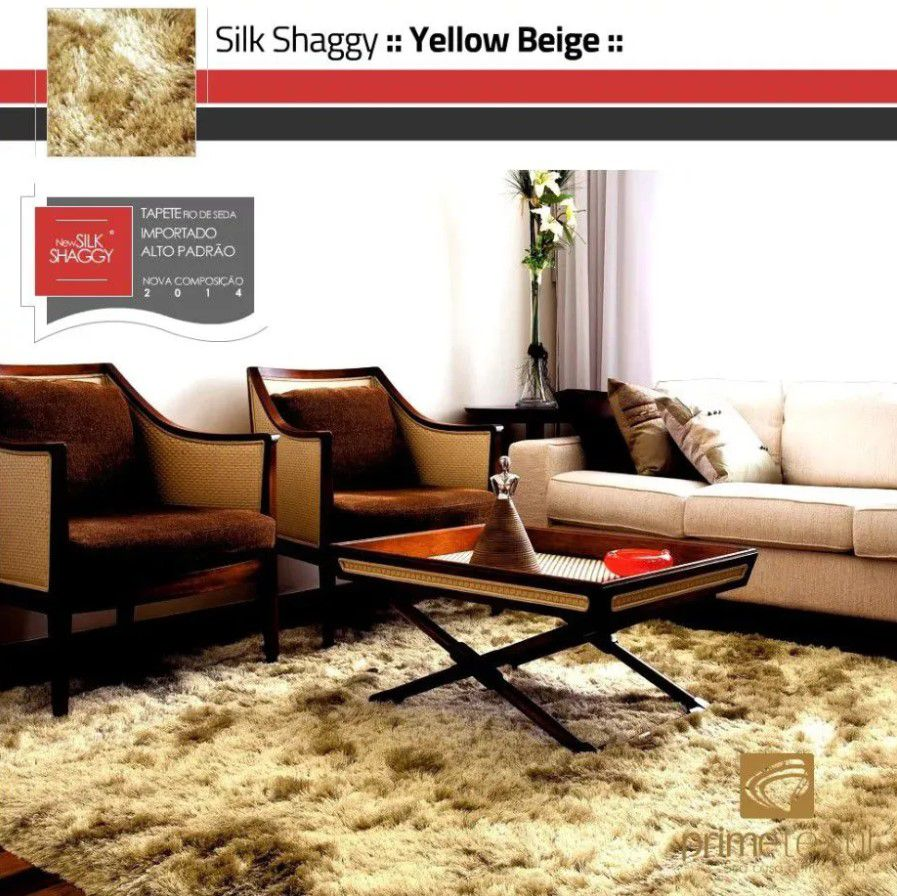 Tapete Silk Shaggy Yellow Beige, Bege Ouro, Fio de Seda 40mm 1,00 x 1,50m