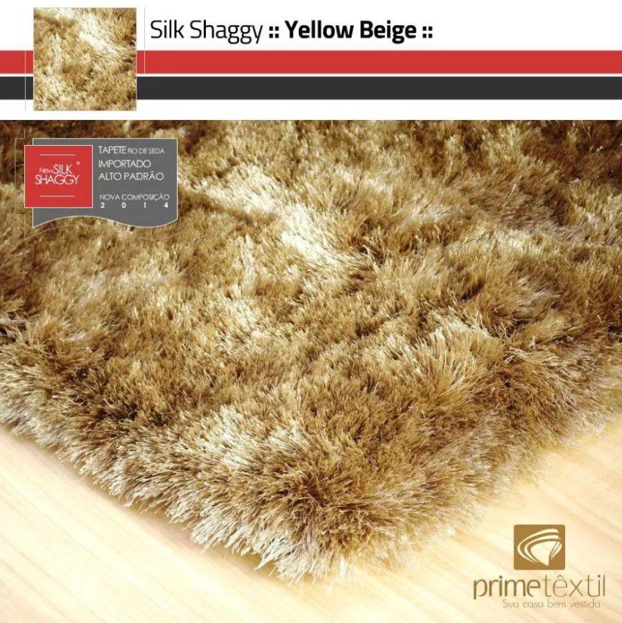 Tapete Silk Shaggy Yellow Beige, Bege Ouro, Fio de Seda 40mm 1,50 x 2,00m