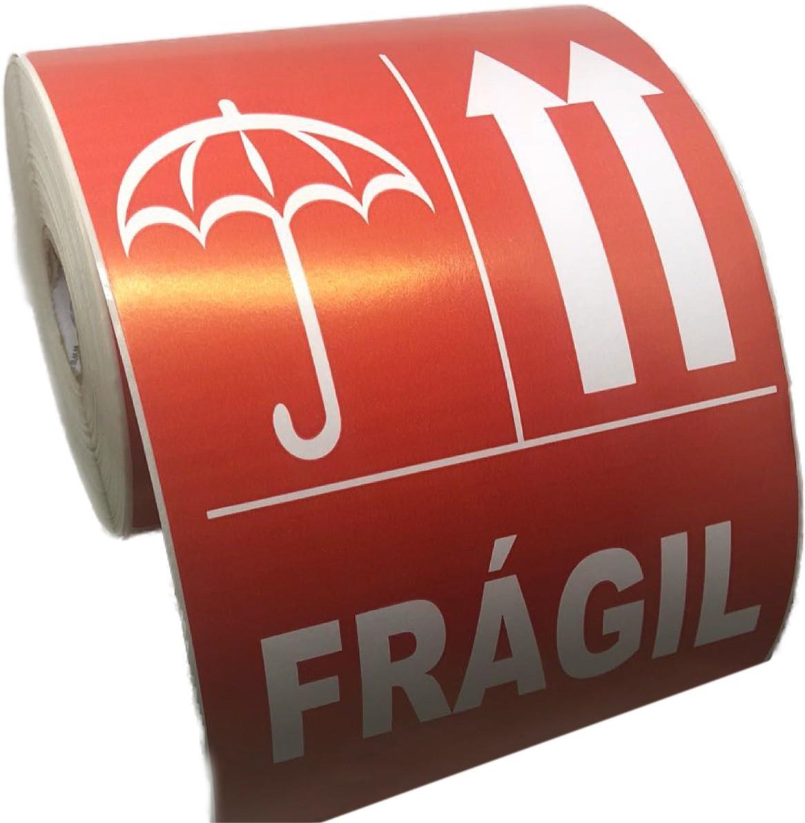 10 Rolos de Etiqueta Adesiva Selo Frágil 102mmX166mm