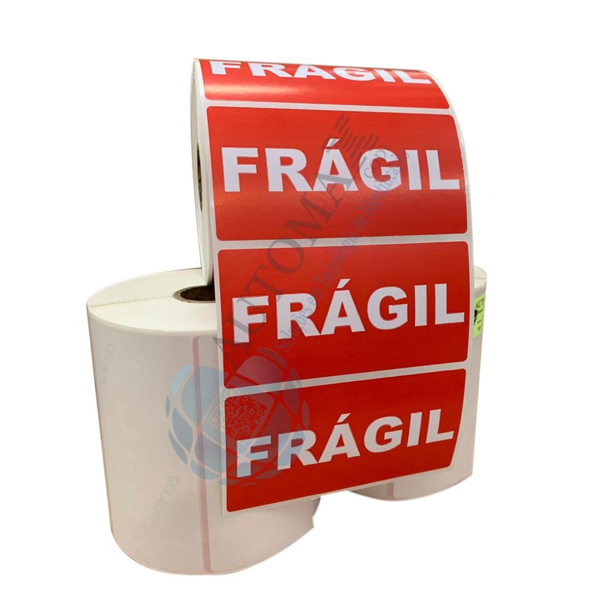 10 Rolos de Etiqueta Adesiva Selo Frágil 10x5cm | 100mmX50mm