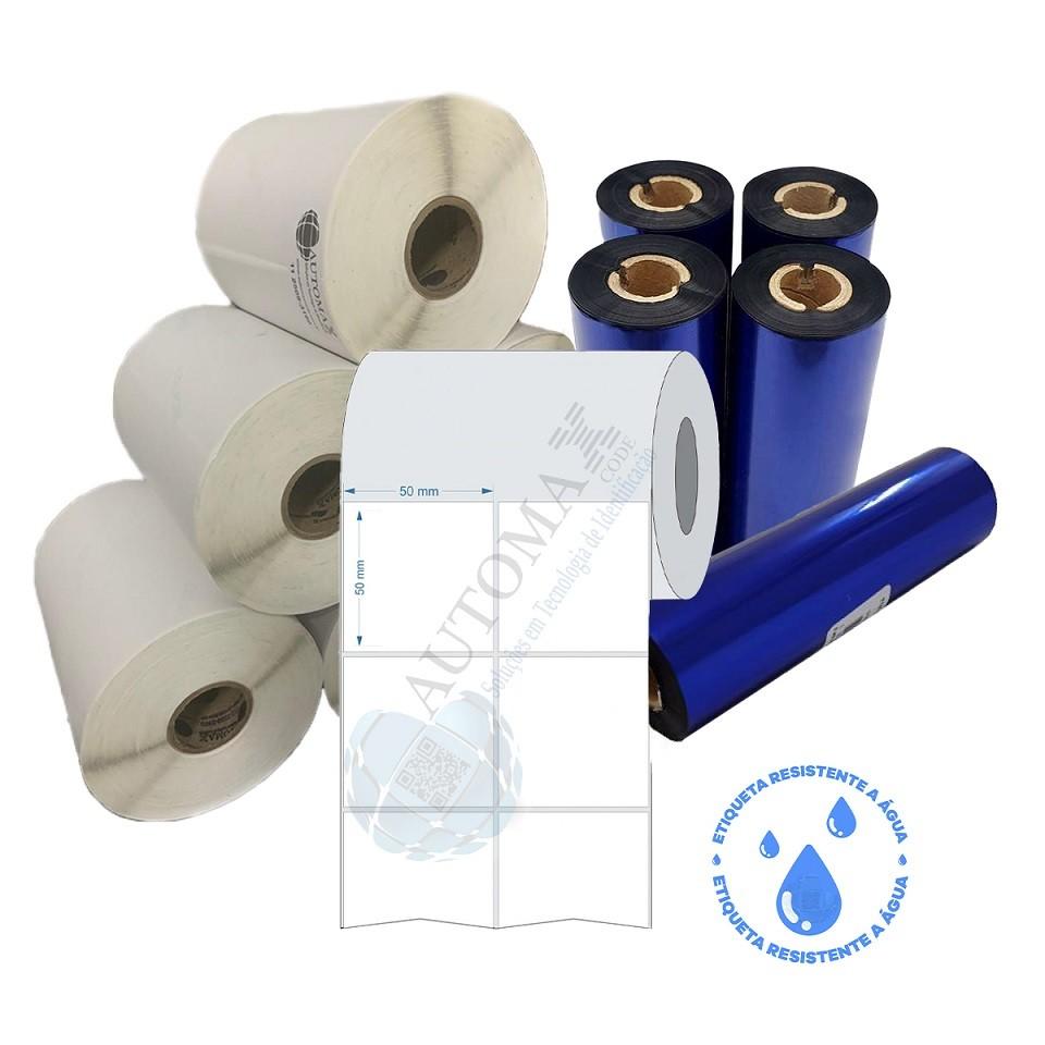 Kit 10 Rolos de Etiqueta BOPP 50X50 + 5 Rolos de Ribbon Resina