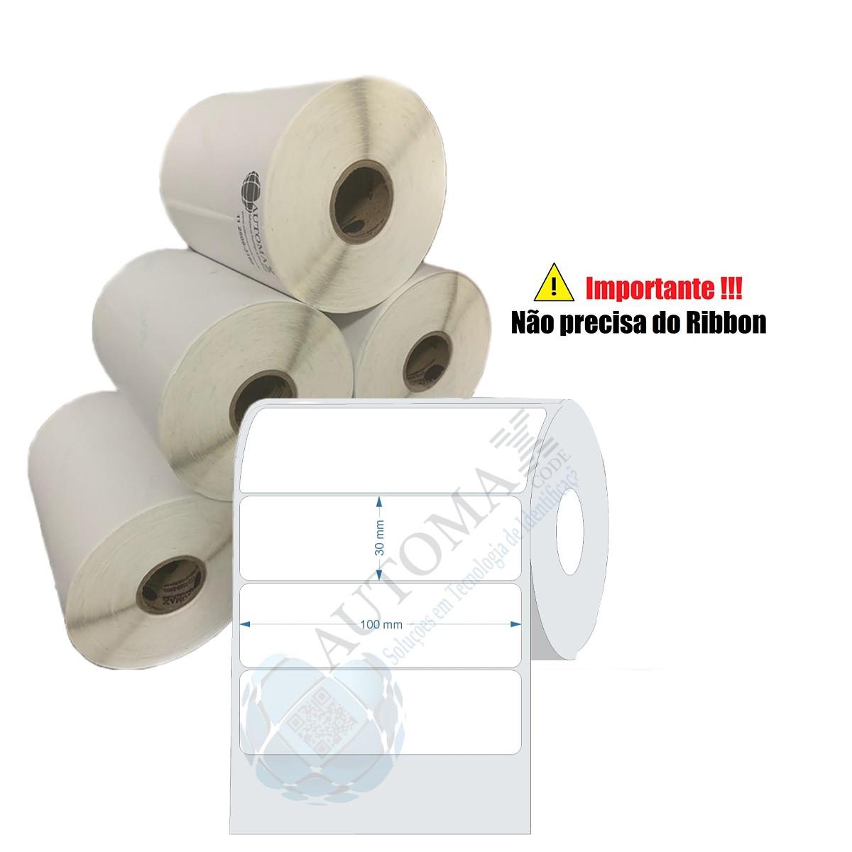 10 Rolos de Etiqueta Térmica 100x30| 100mmX30mm