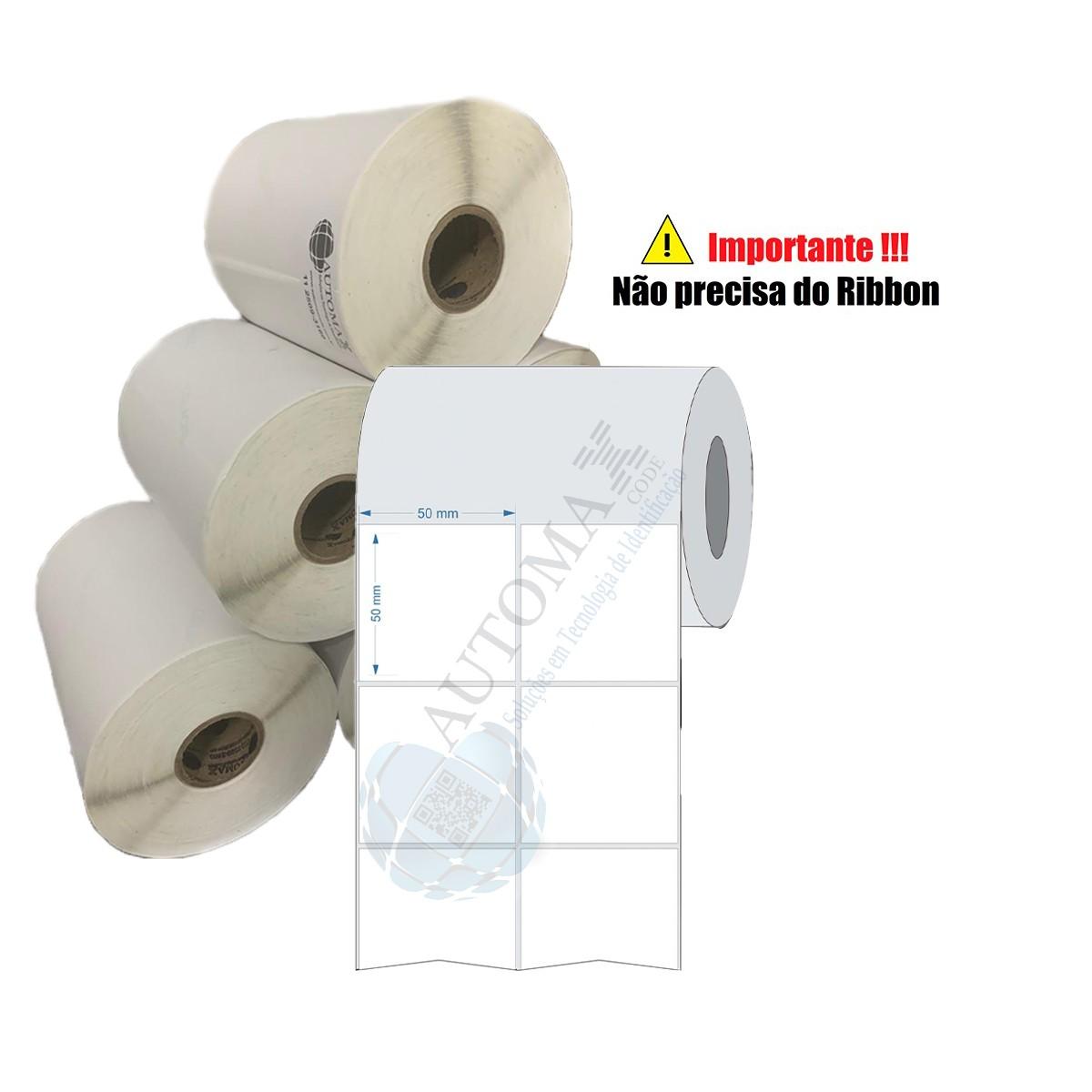 10 Rolos de Etiqueta Térmica 50x50| 50mmX50mm 2 Colunas