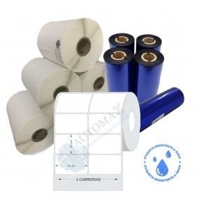 Kit 10 Rolos de Etiqueta BOPP 50x30 + 5 Rolos de Ribbon Resina