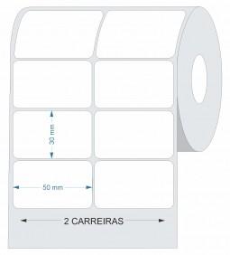 10 Rolos de Etiqueta Couche 50x30 | 50mmX30mm 2 Colunas