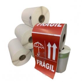 4 Rolos de Etiqueta Adesiva Selo Frágil 102mmX166mm
