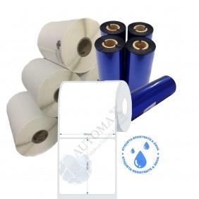 Kit 10 Rolos de Etiqueta BOPP 100x100 + 5 Rolos de Ribbon Resina