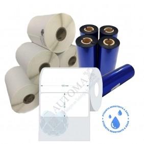 Kit 10 Rolos de Etiqueta BOPP 100x50 + 5 Rolos de Ribbon Resina