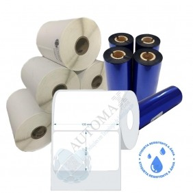Kit 10 Rolos de Etiqueta BOPP 100x60 + 5 Rolos de Ribbon Resina