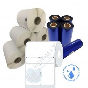 Kit 10 Rolos de Etiqueta BOPP 100x75 + 5 Rolos de Ribbon Resina