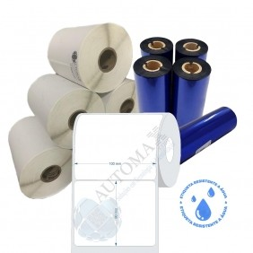 Kit 10 Rolos de Etiqueta BOPP 100x80 + 5 Rolos de Ribbon Resina