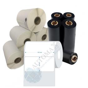 Kit 10 Rolos de Etiqueta Couche 100x50 + 5 Rolos de Ribbon