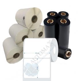Kit 10 Rolos de Etiqueta Couche 100x75 + 5 Rolos de Ribbon