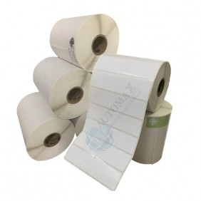 Kit 10 Rolos de Etiqueta Couche 50x25 + 5 Rolos de Ribbon