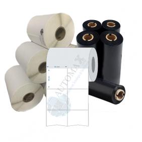 Kit 10 Rolos de Etiqueta Couche 50X50 + 5 Rolos de Ribbon