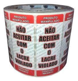 Kit 2 Rolos Etiqueta Lacre Delivery  + 2 Rolos Etiqueta Validade Alimentos Anvisa