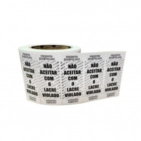 Kit 5 Rolos de Etiqueta Adesiva Lacre para Delivery 90mmX35mm Preto