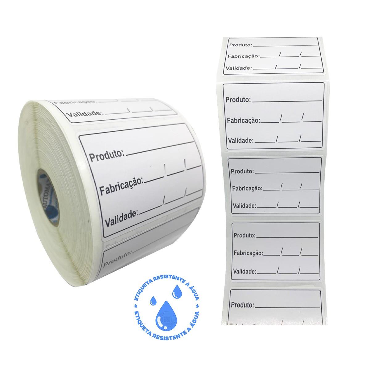 48 Rolos Etiqueta Adesiva BOPP 40x40 | Anvisa para Alimentos Manipulados