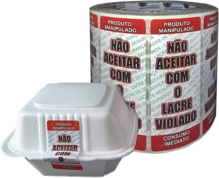 Kit 5 Rolos de Etiqueta Adesiva Lacre para Delivery 90mmX35mm Vermelho