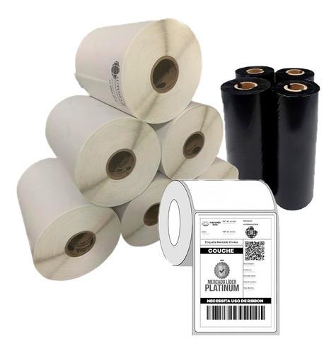 5 Rolos de Etiquetas Mercado Envios 10X15 + 2 Rolos de Ribbon de Cera