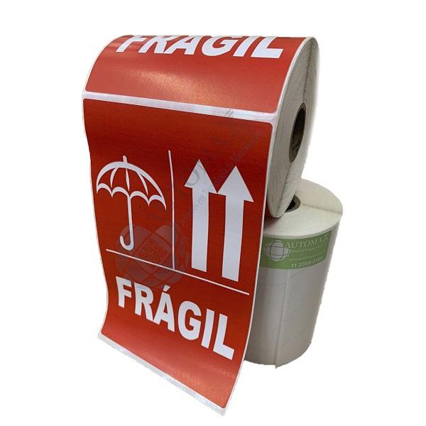 6 Rolos de Etiqueta Adesiva Selo Frágil 102mmX166mm