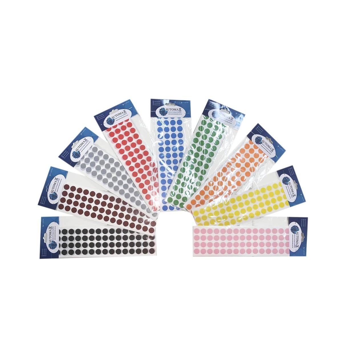 Etiqueta Bolinha Colorida 13mm Cartela Com 1000 Etiquetas