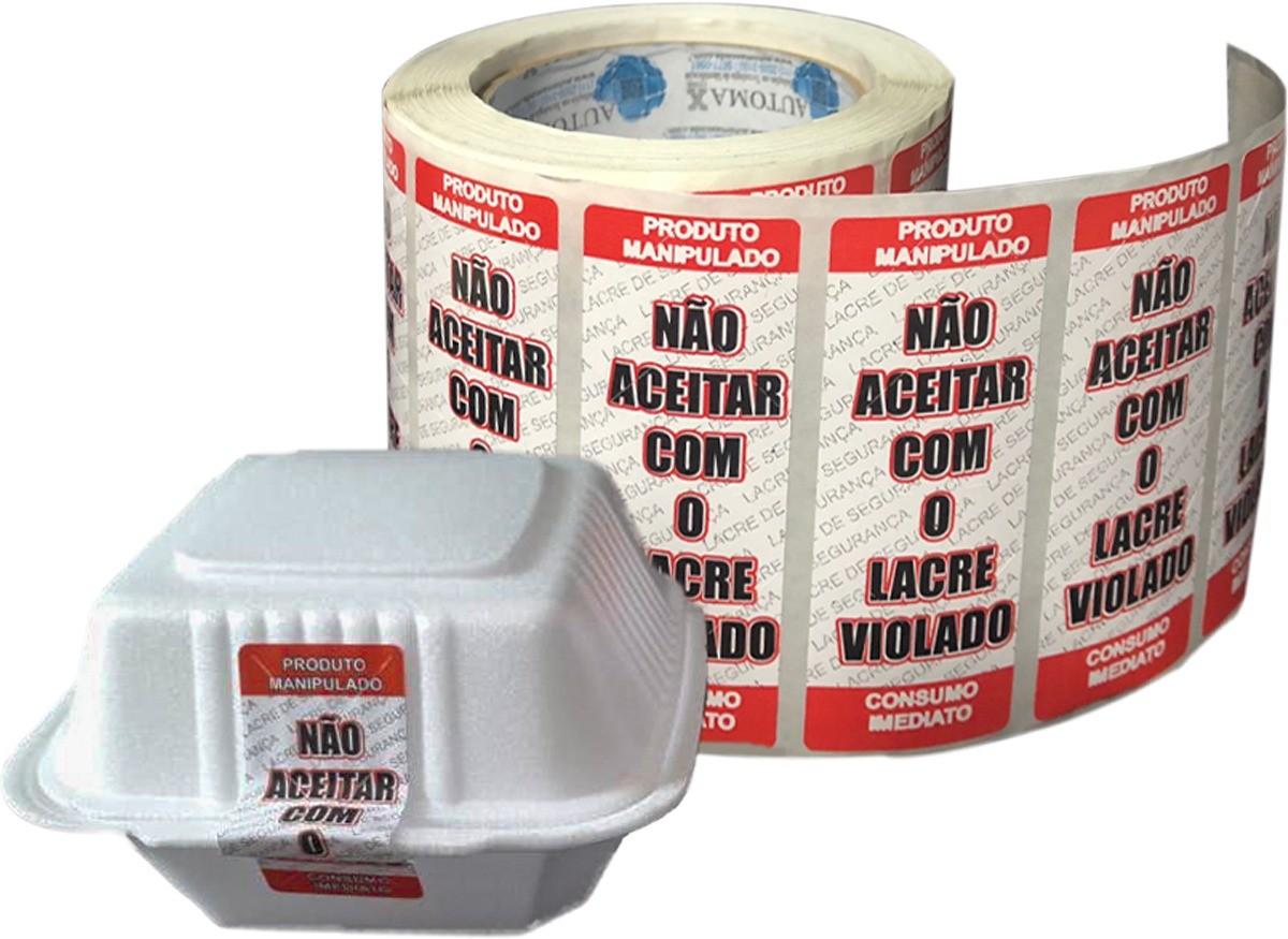 Kit 10 Rolos de Etiqueta Adesiva Lacre para Delivery 90mmX35mm Vermelho