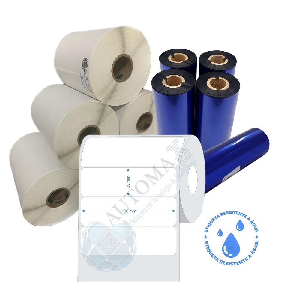 Kit 10 Rolos de Etiqueta BOPP 100x30 + 5 Rolos de Ribbon Resina