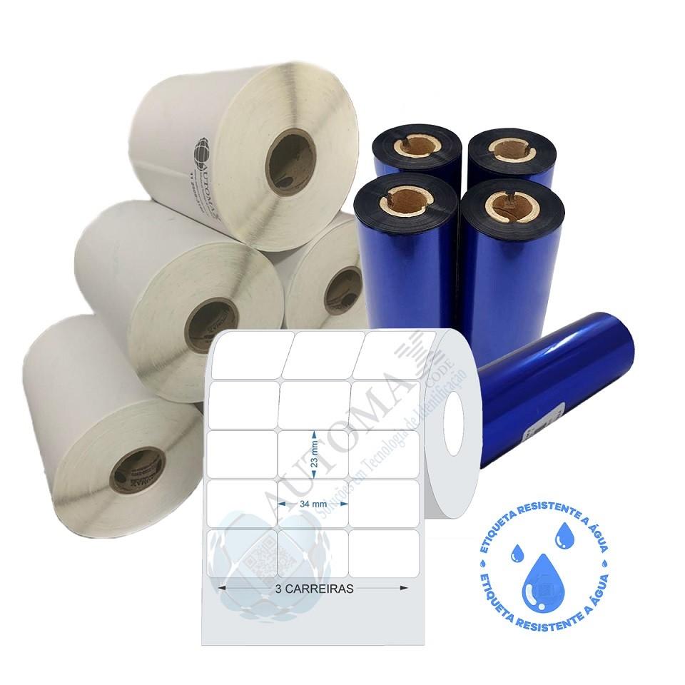Kit 10 Rolos de Etiqueta BOPP 34x23 + 5 Rolos de Ribbon Resina