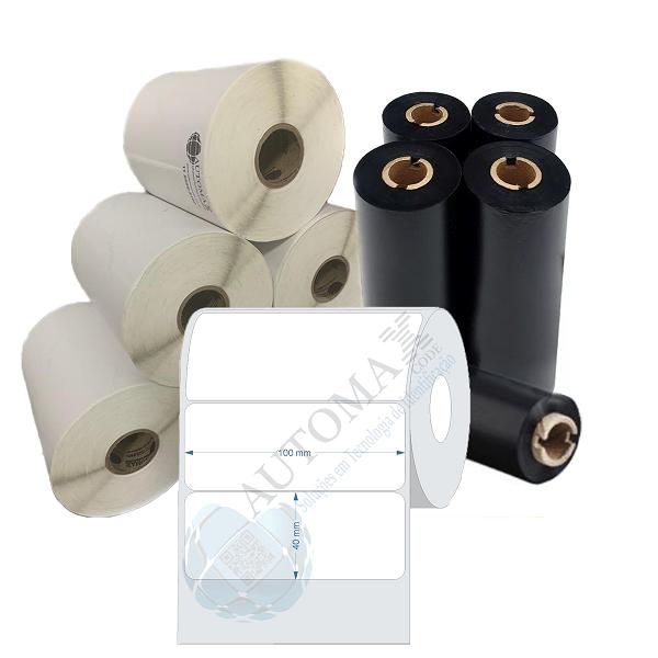 Kit 10 Rolos de Etiqueta Couche 100x40 + 5 Rolos de Ribbon