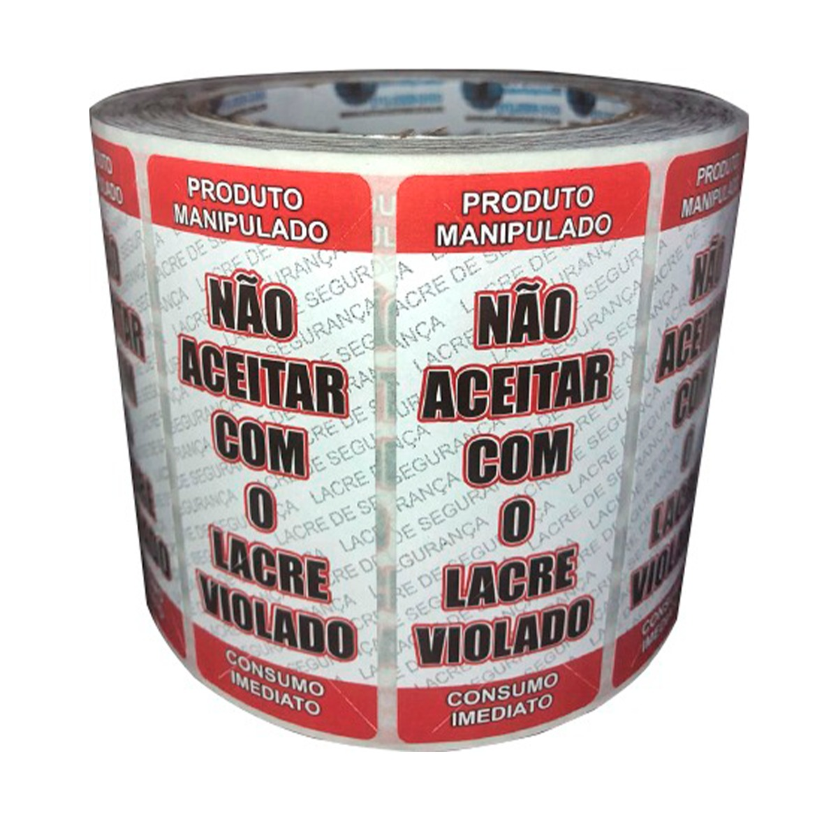 Kit 6 Rolos de Etiqueta Adesiva Lacre para Delivery 90mmX35mm Vermelho