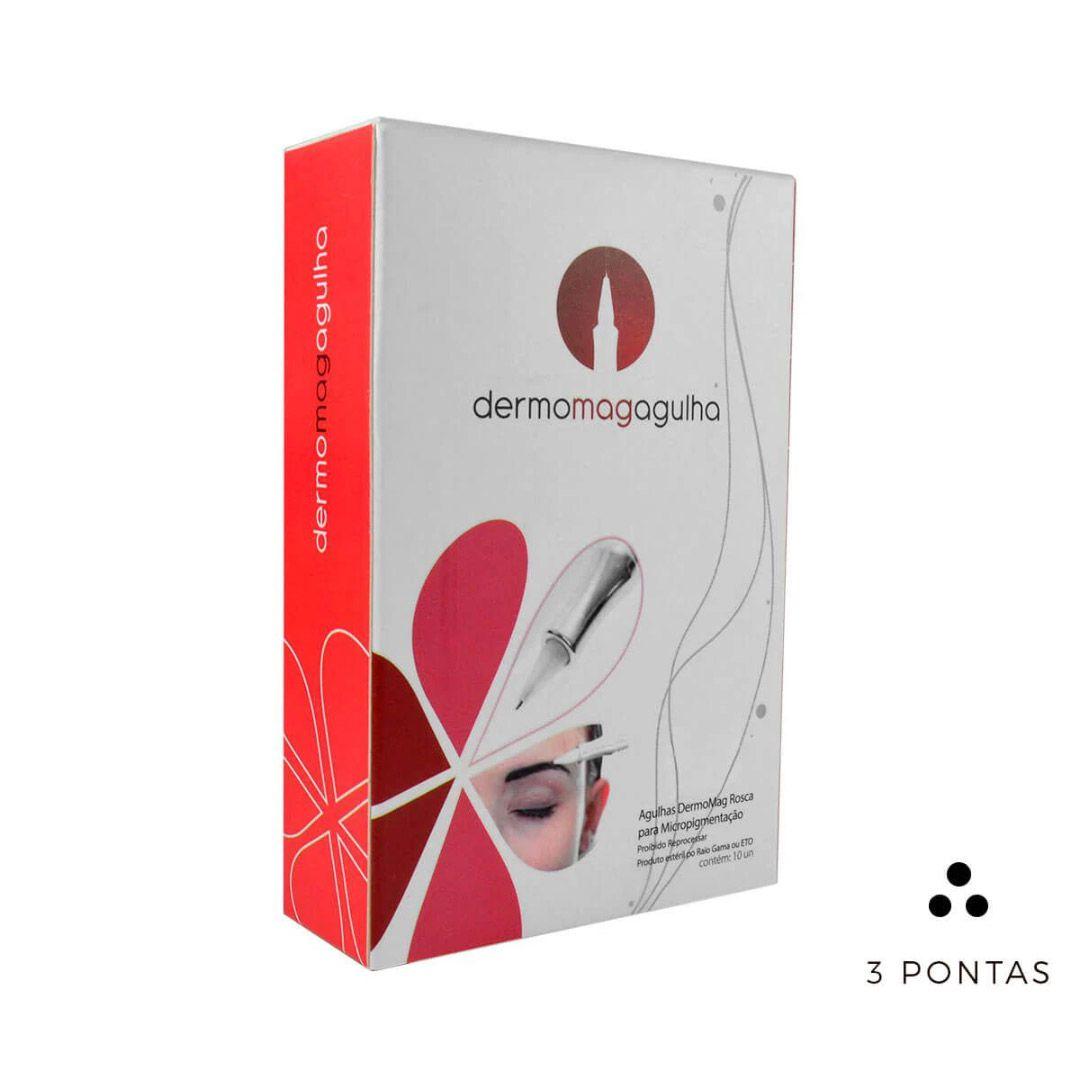 Agulha Dermomag de Rosca 3 Pontas Circular Caixa 10 un