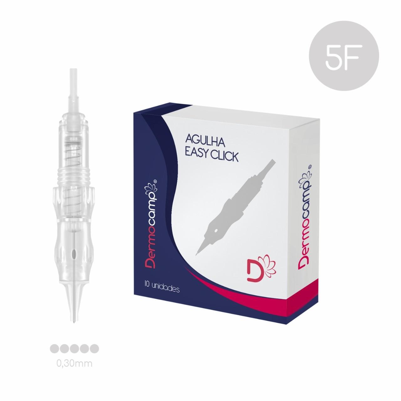 Agulha Easy Click 5 Pontas Linear com Rosca Dermocamp