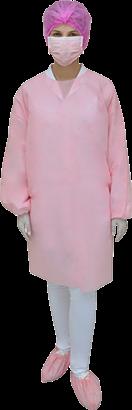 Avental Descartável Rosa Manga Longa com 10 unidades