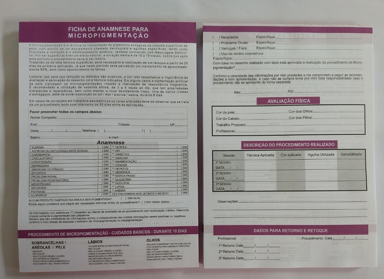 Bloco de Ficha de Anamnese para Micropigmentação