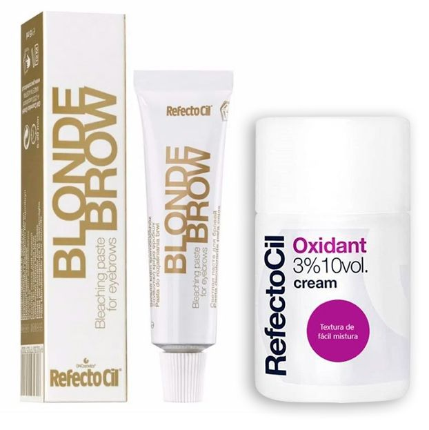 Kit Tintura Para Clareamento de Sobrancelhas RefectoCil Blond Brow Descolorante + Oxidante RefectoCil 3% 10 Vol Creme