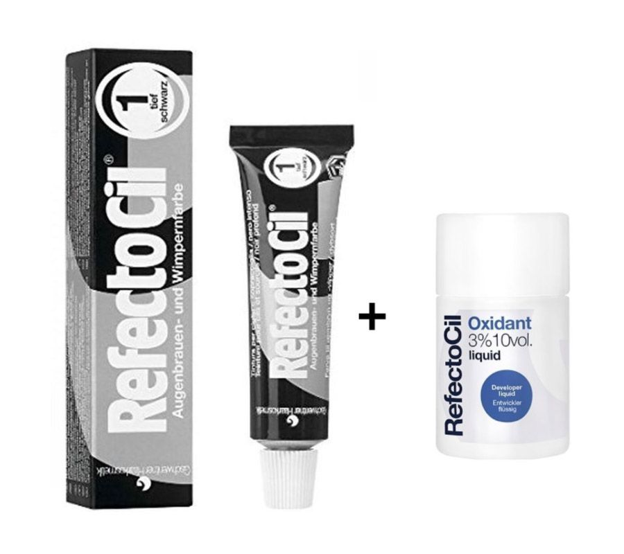 Kit Tintura Para Sobrancelhas RefectoCil Preto N° 1 + Oxidante RefectoCil 3% 10 Vol
