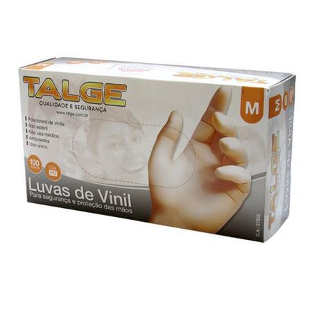 "Luva Descartável Talge Vinil ""M"" com 100 unidades"