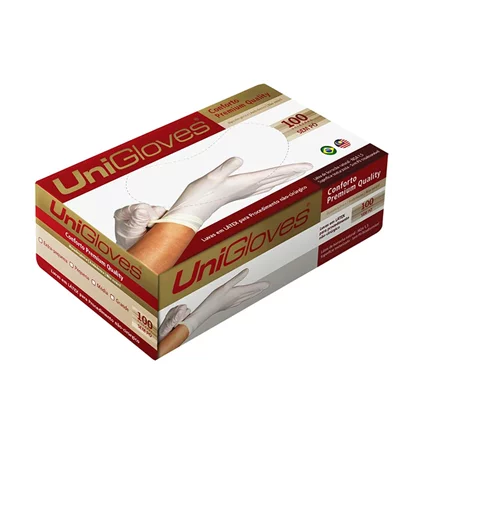 Luva Descartável UniGloves Conforto Premium Quality Tam