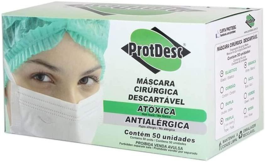 Máscara Cirúrgica Tripla Descartável Branca ProtDesc com 50 unidades