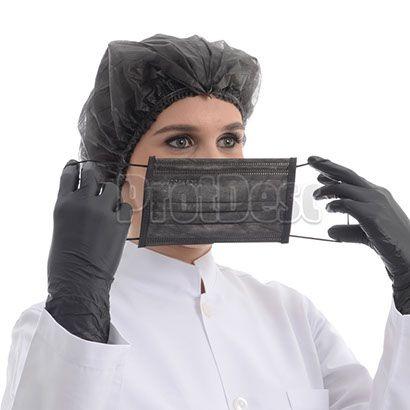 Máscara Tripla Descartável Preta com 50 unidades