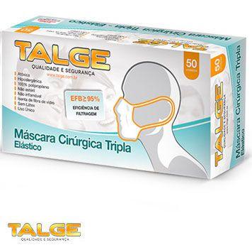 Máscara Tripla Descartável Talge com 50 unidades