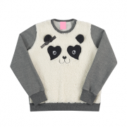 Blusa Infantil Menina Ursinho Panda Pelúcia Tam 6