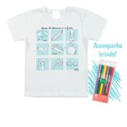 Camiseta Infantil Menino Para Pintar com Kit de Canetinhas