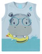 Camiseta Regata Infantil Menino Estampa Divertida Hipopótamo